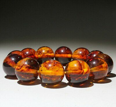 Collectable Chinese Amber Handwork Carve Noble Delicate Beautiful  Hand Catenary