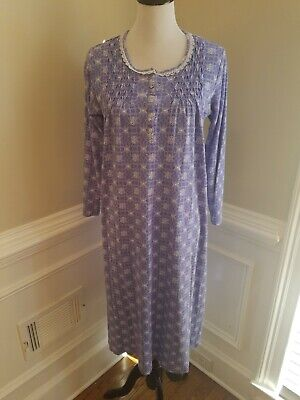 Charter Club Nightgown Medium Long Gown Sleeves 100% Cotton smocking Lace purple