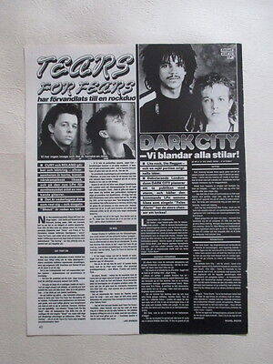 Tears For Fears Dark City Amos Pizzey Richard Cass Lewis clipping Sweden 1980s