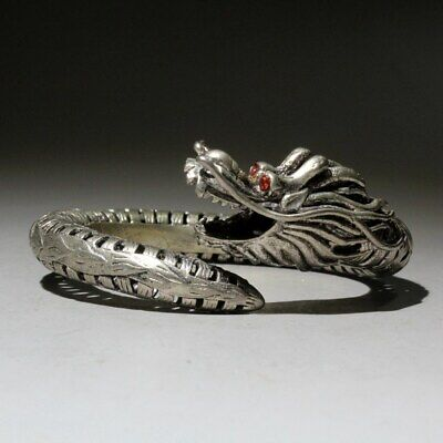Collectable Qianlong Years Miao Silver Hand-Carved Exorcism Dragon Head Bracelet