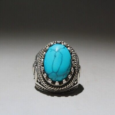 Collectable China Miao Silver Handwork Mosaic Agate Bring Auspicious Unique Ring