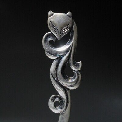 Collectable Chinese Miao Silver Hand-Carved Fox Delicate Auspicious Girl Hairpin