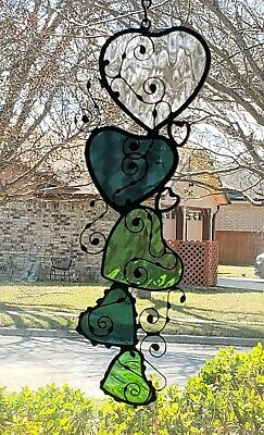 Stained glass suncatcher, window hanging,hearts ,decor, Clear, Steel Blue,Green