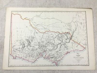 1857 Antique Map of Australia Victoria Old Hand Coloured 19th Century Original