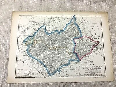 1857 Antique Map Leicestershire Leicester Rutland 19th Century Old Hand Coloured