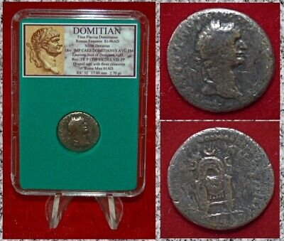Ancient Roman Empire Coin Of DOMITIAN Draped Seat Silver Denarius