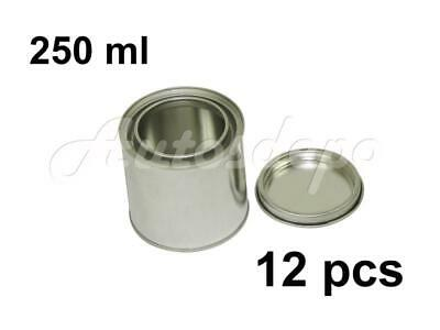 1/4 Quart, 1/2 pint, 250 ml Empty Metal Paint Can With Lid (12 Cans and 12 Lids)
