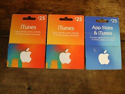 (3)  TWENTY FIVE DOLLAR ($75 TOTAL)  PHYSICAL APPLE iTUNES GIFT CARDS ~ UNUSED
