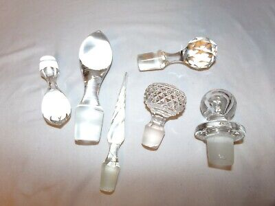 Lot of 6 Vintage Cut Glass Decanter Stoppers Tops