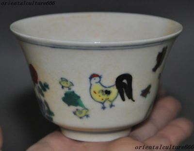 Marked China Wucai Old porcelain chicken chick cock rooster Flower wineglass cup