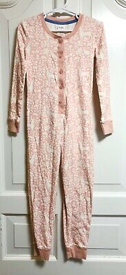 Mini Boden All In One Pajamas Pjs Pink Girls Size 6 6Y Deer Rabbit Animals