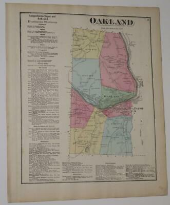 1872 Susquehanna County PA HAND-COLORED Map,OAKLAND Township,SUSQ. DEPOT,RIVER