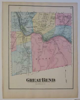 1872 Susquehanna County PA HAND-COLORED Map,GREAT BEND Township,SUSQ RIVER,OWNRS