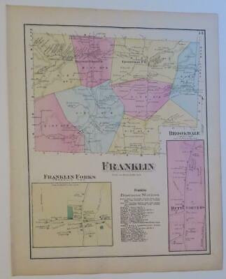 1872 Susquehanna County PA HAND-COLORED Map,FRANKLIN Township,FORKS,RIVER,OWNERS