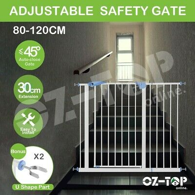 Baby Pet Child Safety Security Gate Stair Barrier w/ 30CM Extension 100CM Height
