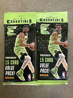 Lot of 2x Panini 2017-18 Essentials NBA 15-Card Value Packs New & Factory Sealed