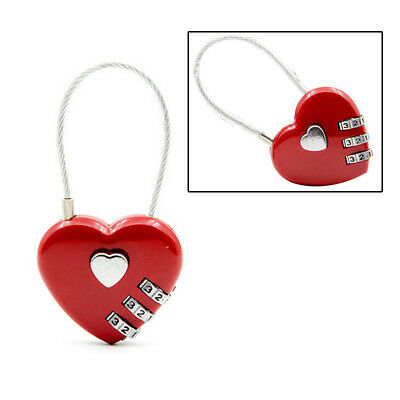 Password Locks Wire Rope Resettable Digital Combination Heart Bag Travel Padlock