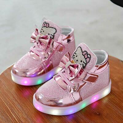 Children's Sneakers Enfant Hello Kitty Girls Shoes With Led Light Kids Chaussure