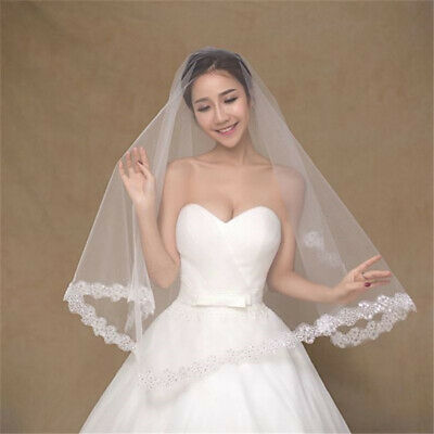 Wedding Accessories Short Veil 1Layer Bridal Veils For Women Appliques Lace Edge