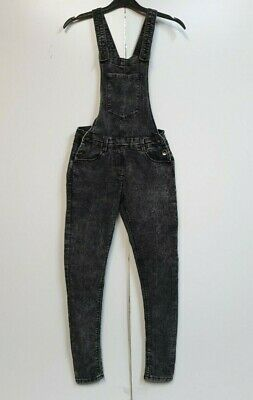 A218 Girls Matalan Grey Denim Skinny Overall Dungarees Age 12 W26 L28