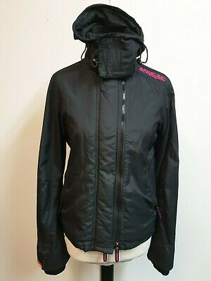 A406 Womens Superdry The Windcheater Black Pink Hooded Jacket M 10 Eu 38
