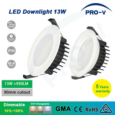 LED Downlight 10W 13W Dimmable CCT Colour Changeable IP44 90mm Cutout downlights