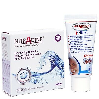 Nitradine Tablets & Shine Toothpaste ~ Denture Cleaner Disinfecting & Cleaning