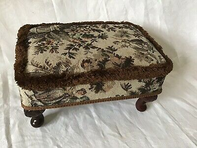 Vintage Low Footstool Traditional Tapestry Browns Queen Anne Style Legs