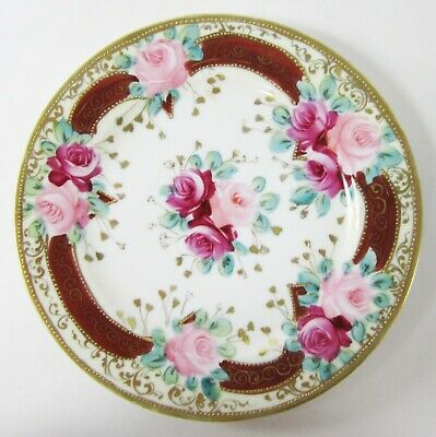Vintage Nippon Pink Roses Plate Hand Painted Gilded Beads Gold Accents
