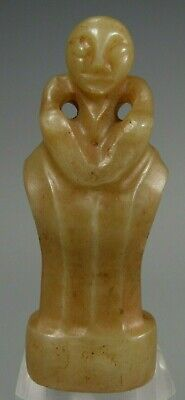 Fine China Chinese Jade Carved Ritual Standing Figural Sword handle age Unknown