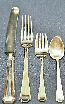 4 Fairfax By Gorham Durgin  Sterling Flatware Settings With 4 Pieces Per Setting