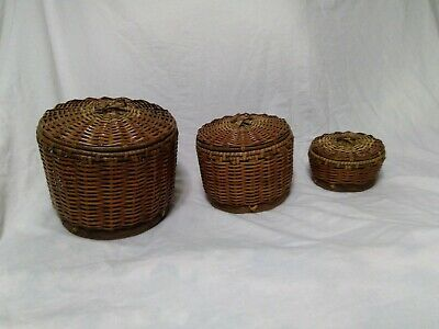 Vintage Chinese Woven Bamboo Rattan Baskets with Lids Group of 3