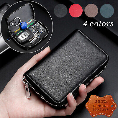 Buffway Car key case,Genuine Leather Smart Chain Keychain Holder Metal Hook