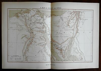 Egypt and the Sinai Peninsula Arabia Africa 1883 Appleton detailed uncommon map