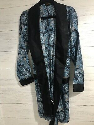 Vintage St Michaels Tricel Blue Paisley Mens Dressing Gown Robe Nightwear 38""