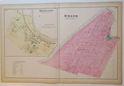 ORIGINL 1873 HAND COLORD MAP UNION TWP & MAPLETON,HUNTINGDON CO,PA,RailRd,OWNERS