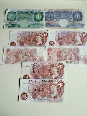 Vintage Bank of England Banknotes 10/- Shilling's & £1 Joblot collection money