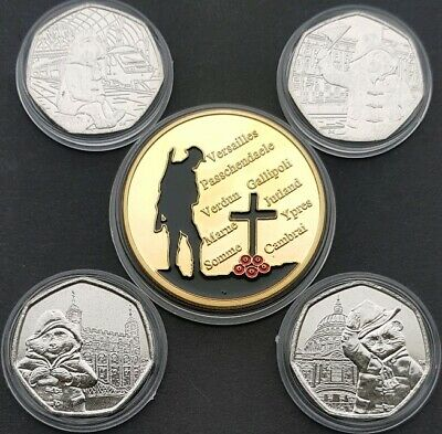 ° All 4 Paddington Bear 50P Coins Inc At St Paul's Cathedral Plus Great War Coin