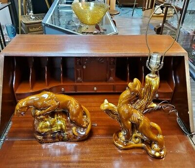 Pair of Mid Century Modern Glazed Ceramic Brown Panther Lamps Regency Lighting