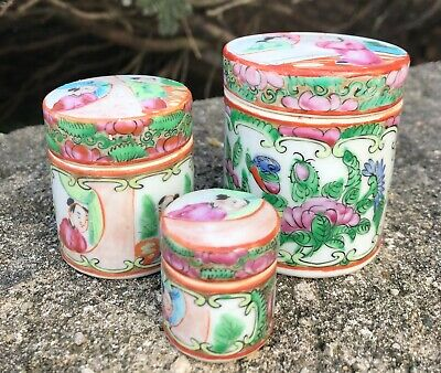 Set of 3 Antique Chinese Export Rose Medallion Jars - Small Size