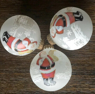 KREBS Frosted Glass Santa checking his list Glitter CHRISTMAS Ornaments