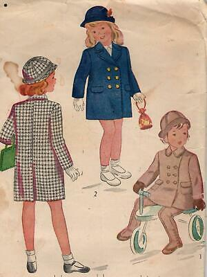 40's Childs Coat, Leggings & Hat Sewing Pattern Simplicity 2203 Size 2 Complete