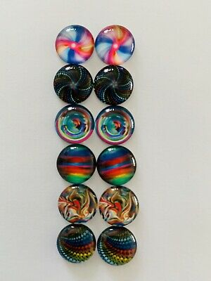 6 Pairs Of 12mm Glass Cabochons #773