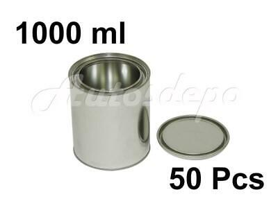 QUART SIZE , 1000 ml EMPTY METAL PAINT CANS WITH LIDS (50 CANS AND 50 LIDS)