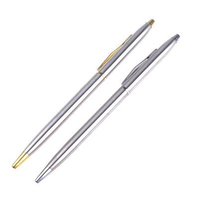 1x Stainless Steel Rod Rotating Ballpoint Pen School Stationery Pen W/ Clip Gift