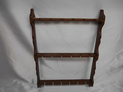 Old Vtg COLLECTORS SPOON WOOD WALL RACK HOLDER DISPLAY HOLDS 18 SPOONS