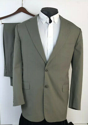 BROOKS BROTHERS Men's Taupe/Green Brookscool Poplin Cotton Summer Suit 43R 37x32