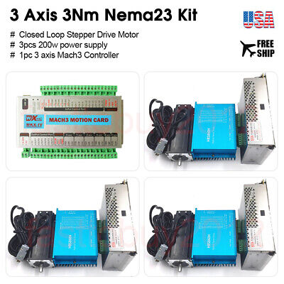 3Axis Mach3 Nema23 Closed Loop Stepper Motor 3NM  Driver kit & Motion Controller