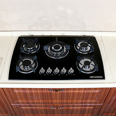 "US~METAWELL Black 30""Tempered Glass Built-in 5 Burner Cooktops LPG/NG Gas Cooker"