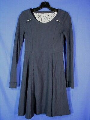 E BY ELOISE Anthropologie NAVY BLUE THERMAL WAFFLE KNIT DRESS Fit/Flare SIZE XS